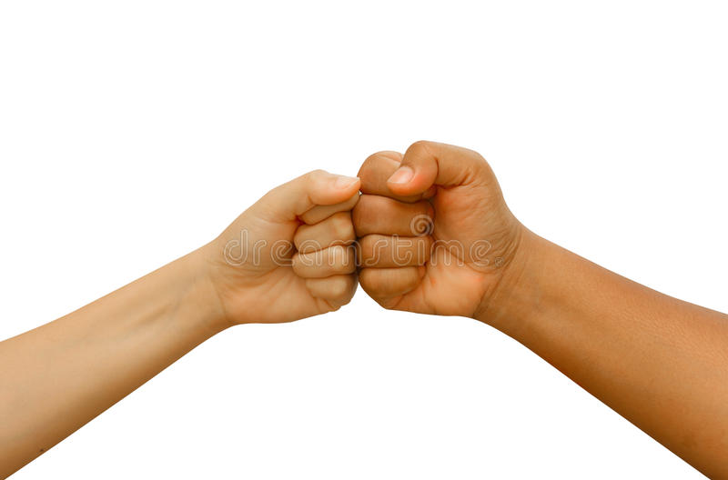 Female and male people giving a fist bump stock photography