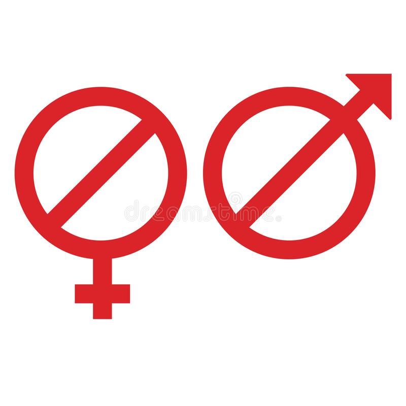 female male signs in form restriction sign vector illustration