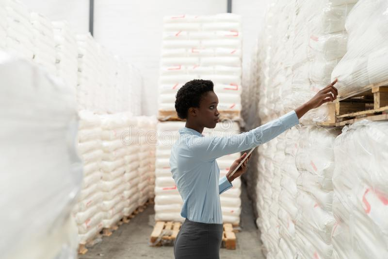 Female manager with digital tablet checking stocks in warehouse. Side view of female manager with digital tablet checking stocks in warehouse. This is a freight royalty free stock image