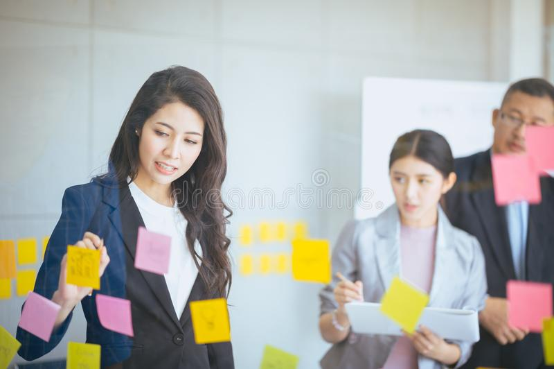 Female manager discussing business,people business group and entrepreneurship concept royalty free stock photography