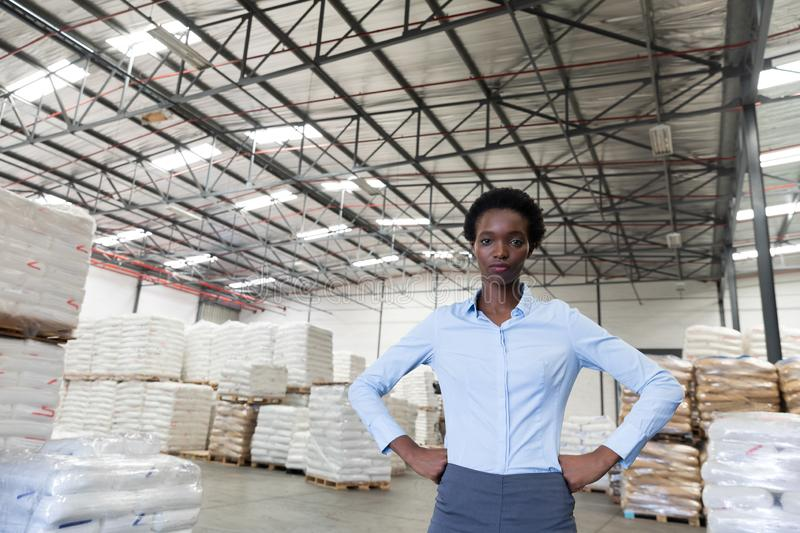 Female manager with hands on hip looking at camera in warehouse. Front view of female manager with hands on hip looking at camera in warehouse. This is a freight stock photo