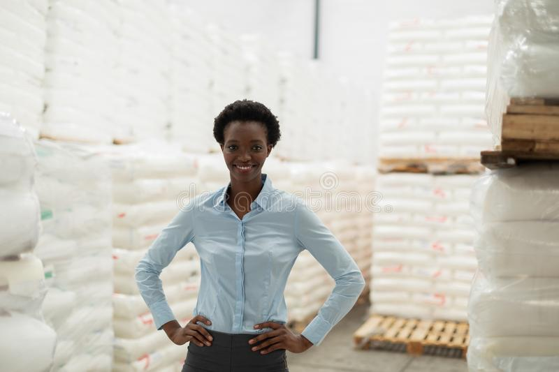 Female manager with hands on hip looking at camera in warehouse. Happy female manager with hands on hip looking at camera in warehouse. This is a freight stock photo
