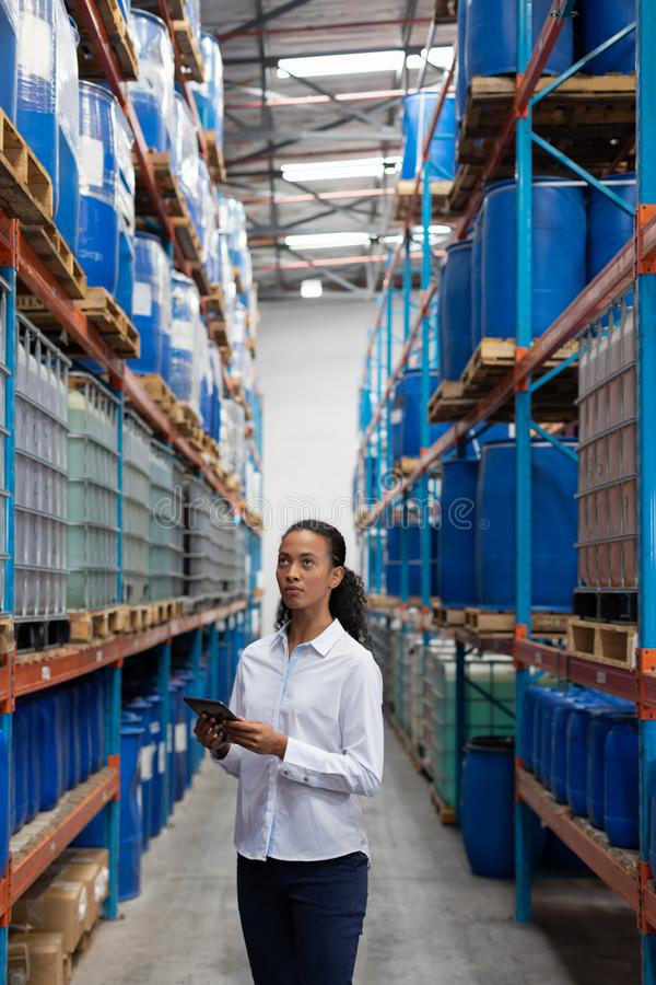 Female manager using digital tablet while checking stocks in warehouse. African American female manager using digital tablet while checking stocks in warehouse stock photos