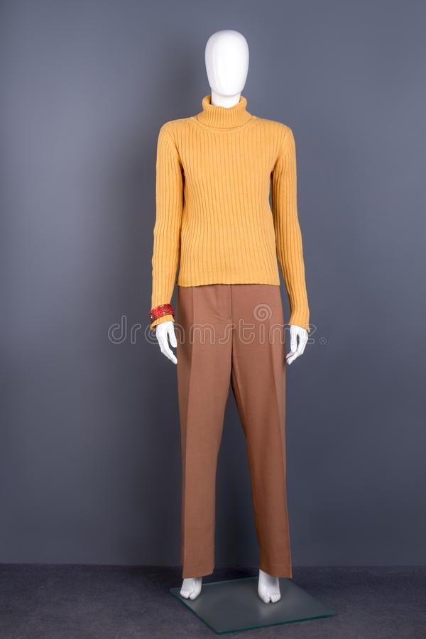 Female mannequin in yellow turtleneck sweater. Ladies casual apparel. Feminine fashion look royalty free stock images