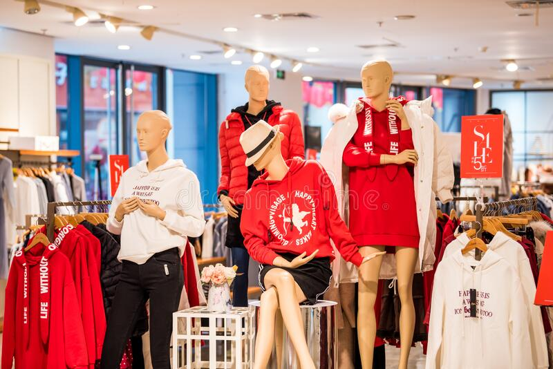 Female mannequins with beautiful fashions in the malls in  Dynamic Town Dayunchengbang in Dongguan, China.  stock photos
