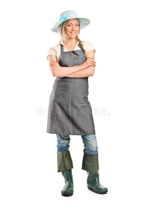 Female manual worker posing royalty free stock photography