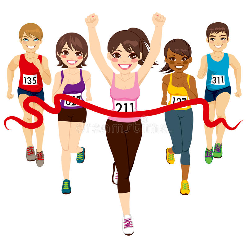 Female Marathon Winner. Female runner winning a marathon against other active competitors touching red finish line stock illustration