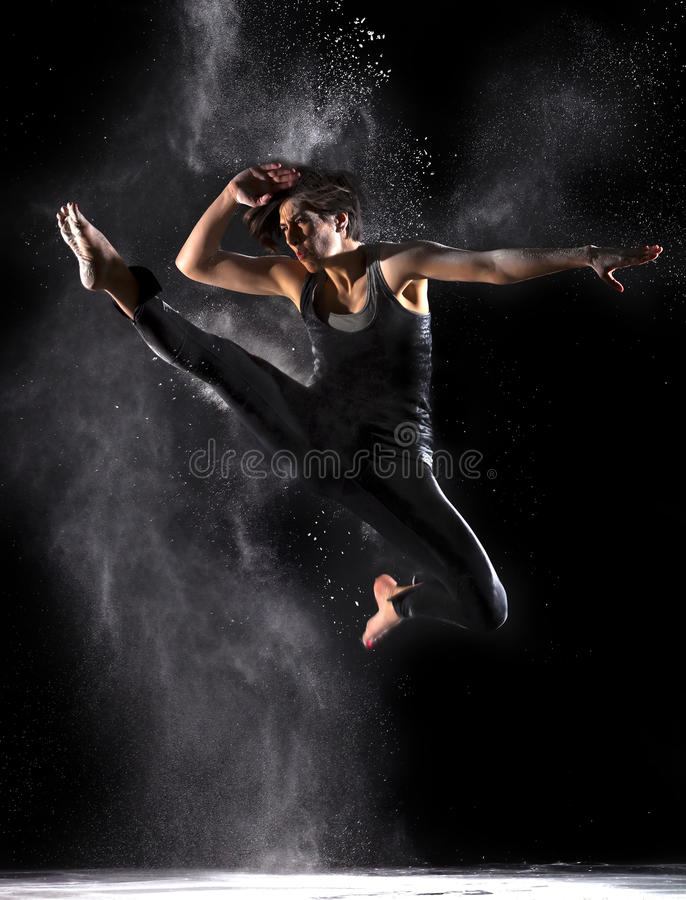 Download Female Martial Artist With Powder Jump Front Kick Stock Photo - Image: 30977894