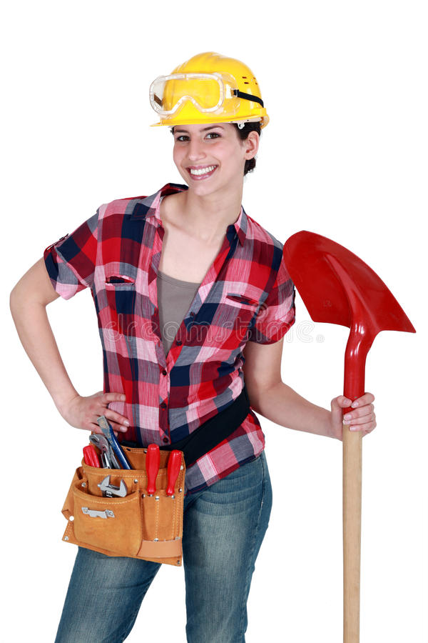 Download Female Mason With Shovel Stock Photography - Image: 24158982
