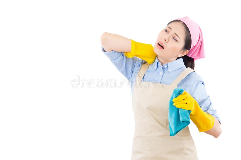 Female massaging her painful neck stock photos