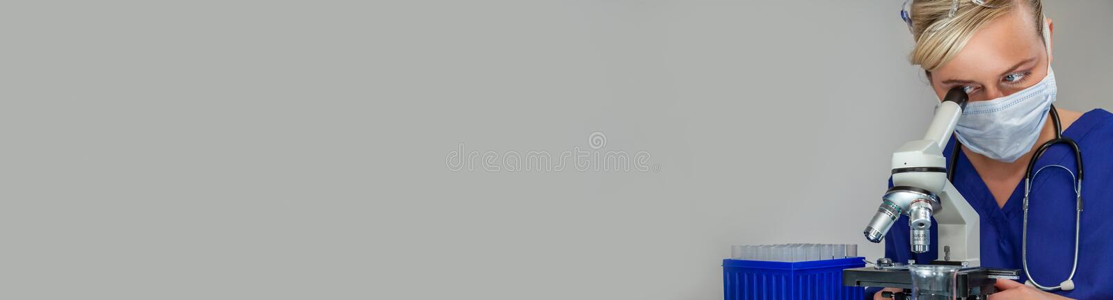 Female Woman Scientist in Laboratory Web Banner royalty free stock photo