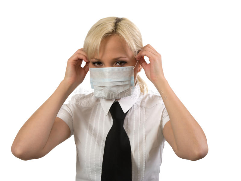 Female in medical mask.
