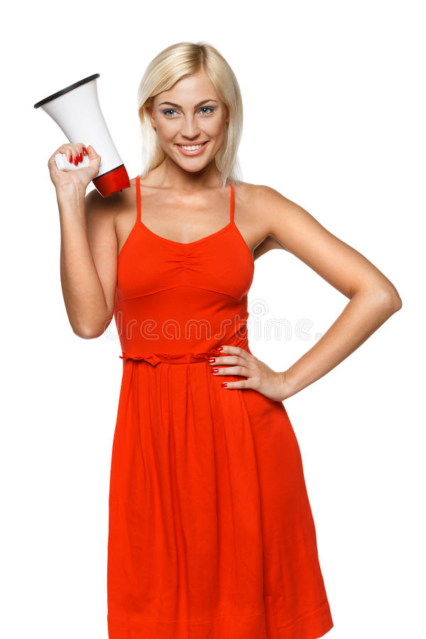 Download Female with megaphone stock photo. Image of message, happy - 26067698
