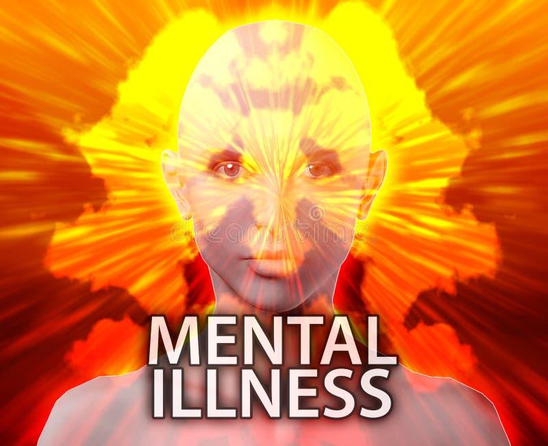 Female mental illness inkblot vector illustration
