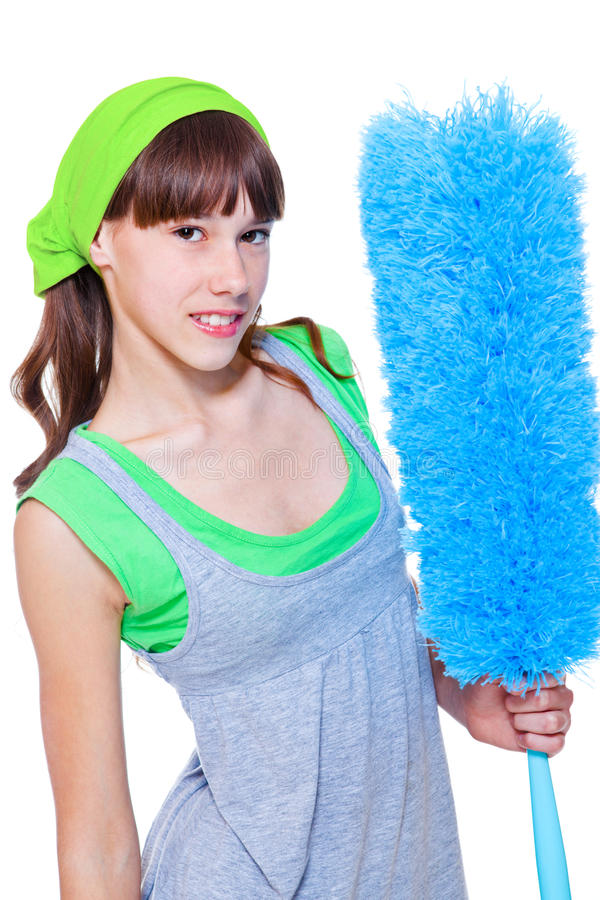 Download Female With Microfiber Duster Stock Image - Image: 24339203