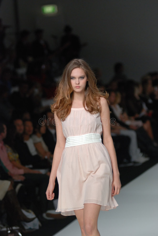Female model at an Australian fashion show royalty free stock photo