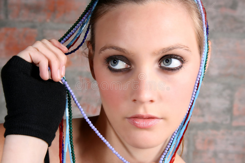 Female Model With Beads Stock Photography