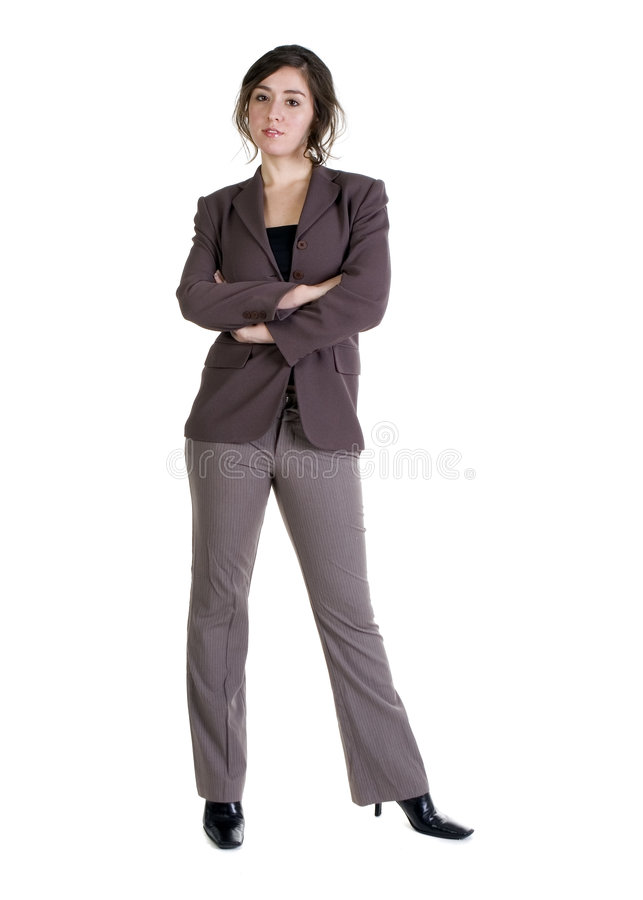 Female model in Business Casual clothes. Over white background royalty free stock photos