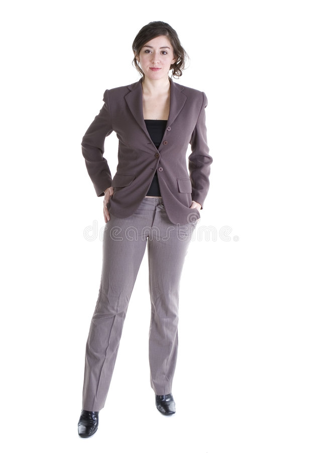 Female model in Business Casual clothes. Over white background stock images