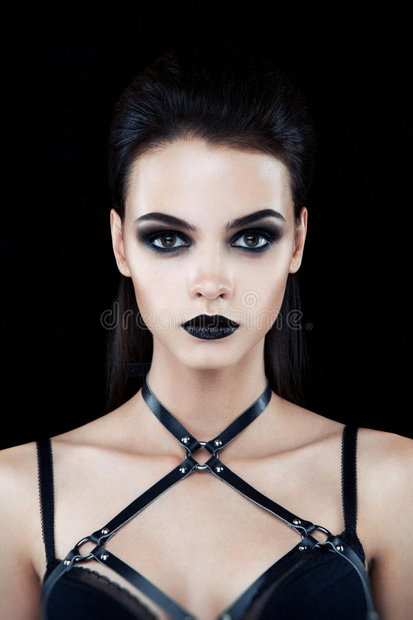 Female model with dark gothic make up royalty free stock image