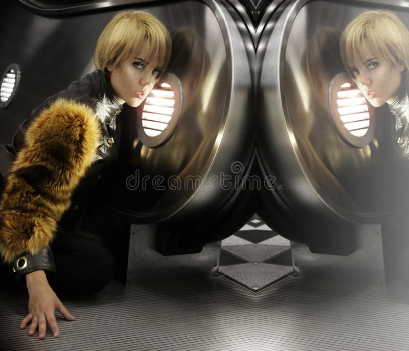Female model in fur royalty free stock images
