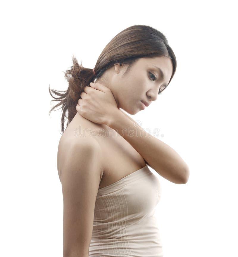 Female model with neck pain symptom royalty free stock photo