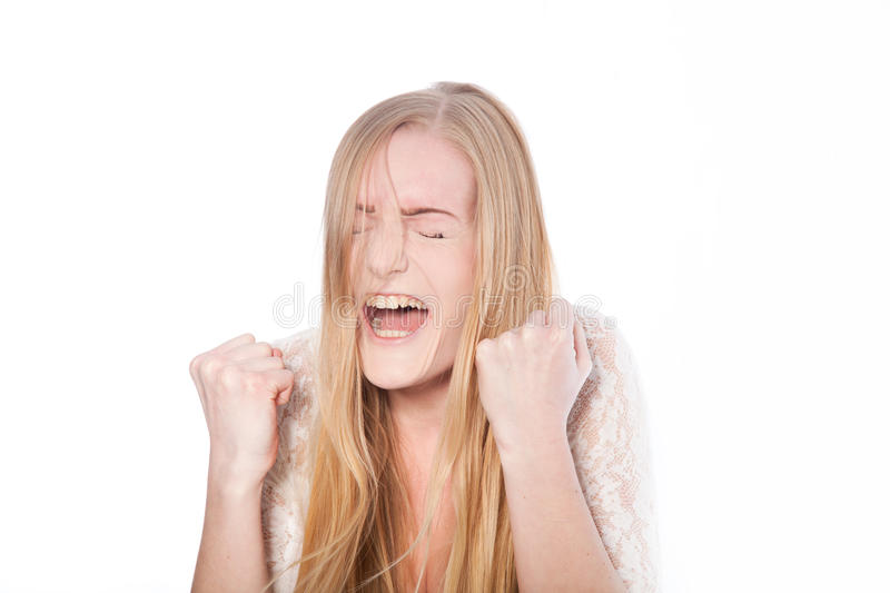 Female Model Screaming with Eyes Closed royalty free stock photography