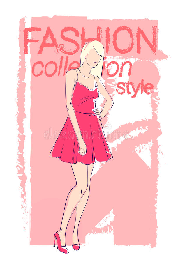 Female Model Wear Fashion Clothes Collection royalty free illustration