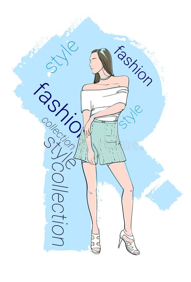 Female Model Wear Fashion Clothes Collection stock illustration