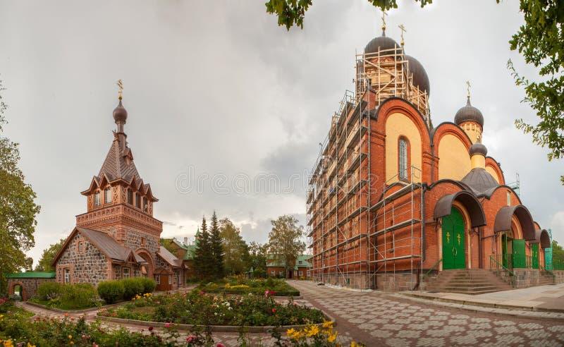 Female monastery. Panorama. Pjuhtitsky Uspensky Stavropigialnyj a female monastery. Kuremjae.Estonia stock photos