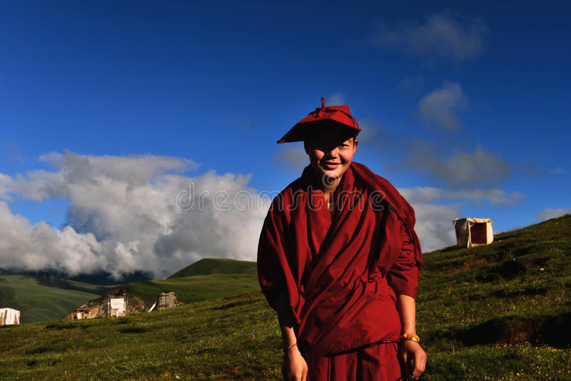Female Monk in Tibet royalty free stock images