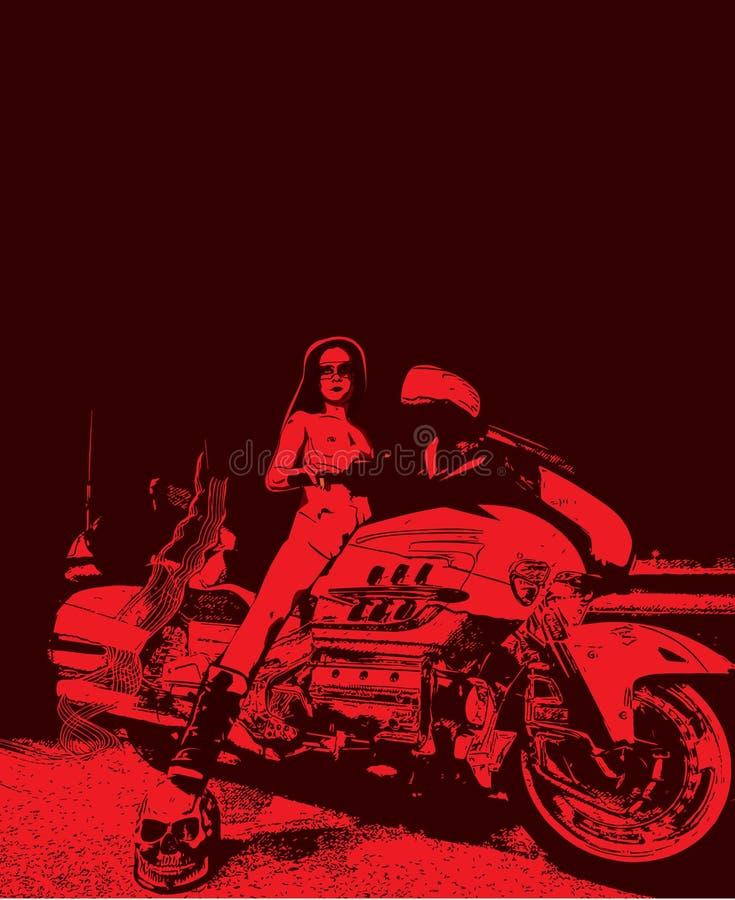 Female motorbiker vector pic. Female motorbiker at night vector pic