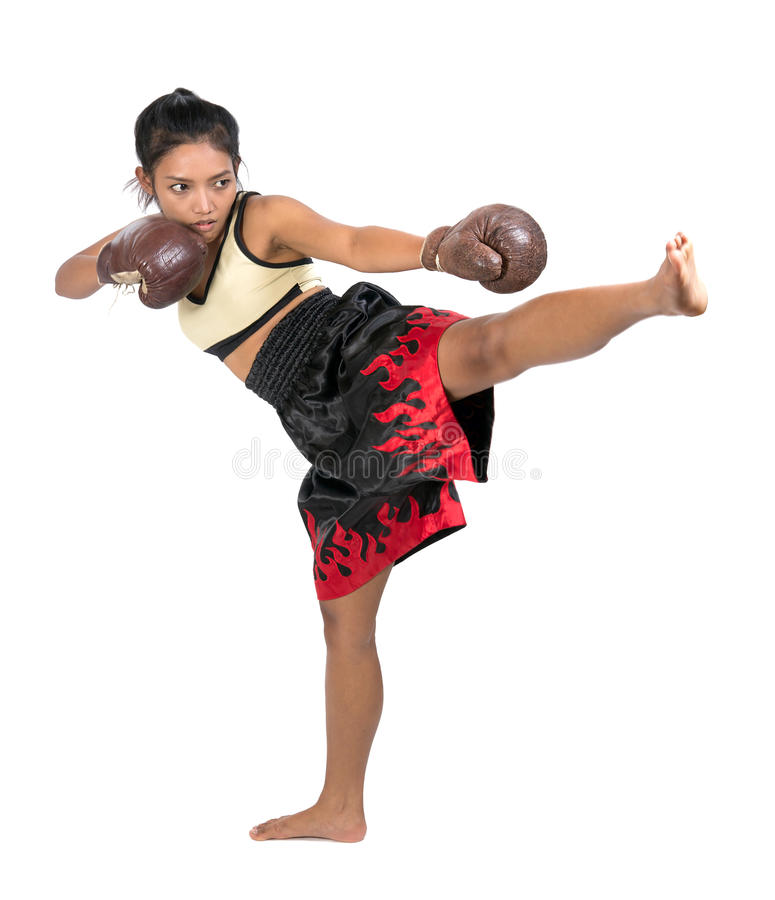Female Muay Thai fighter. On white background royalty free stock photo