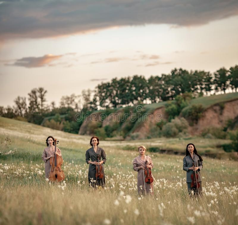 Female musical quartet with violins and cello stands on flowering meadow. royalty free stock image