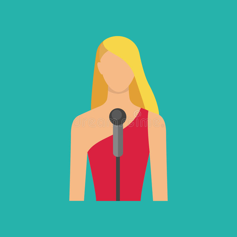 Female musician with microphon. Singing girl avatar. Vector illu. Singing girl. Singer avatar icon. Female musician with microphon. Vector illustration, flat vector illustration