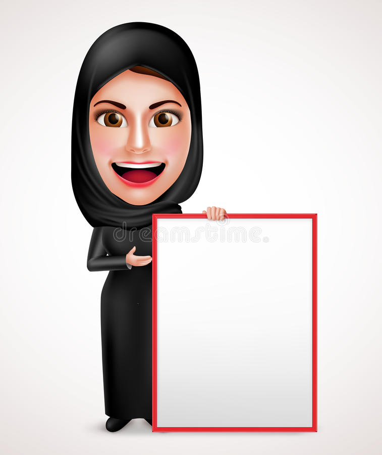 Female muslim arab holding and presenting an empty white board stock illustration