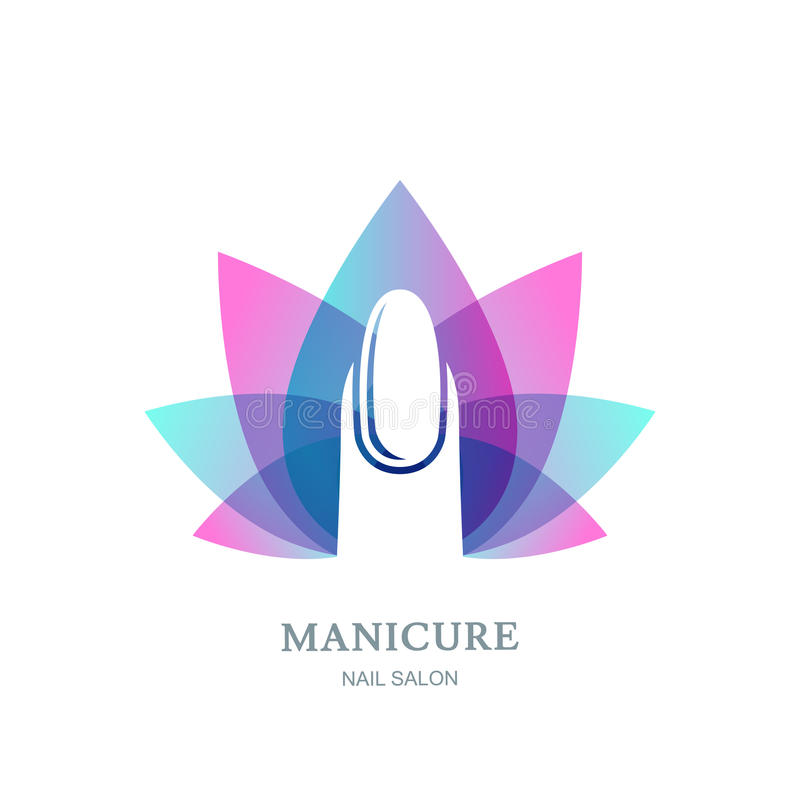 Female nail on purple lotus flower leaves background. Vector logo, label, emblem design element. vector illustration