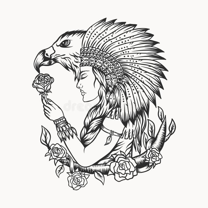 Female native american eagle vector illustration royalty free illustration