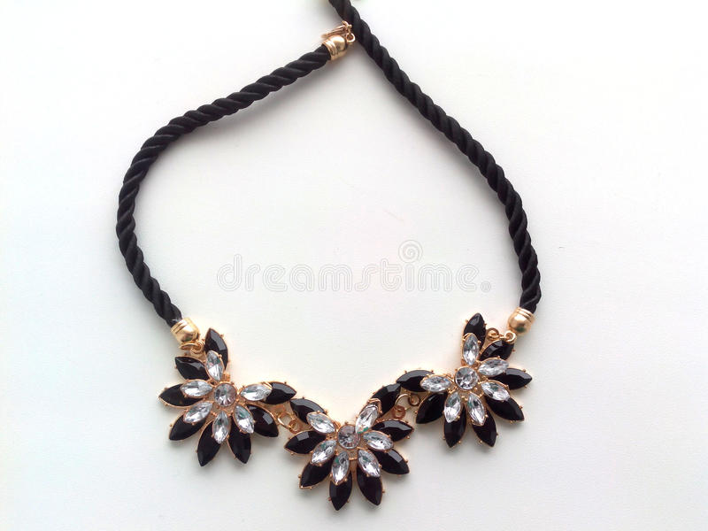 Female necklace around the neck of flowers royalty free stock image