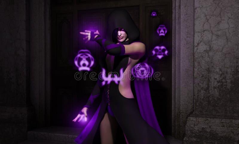 Female necromancer sorcerer vector illustration