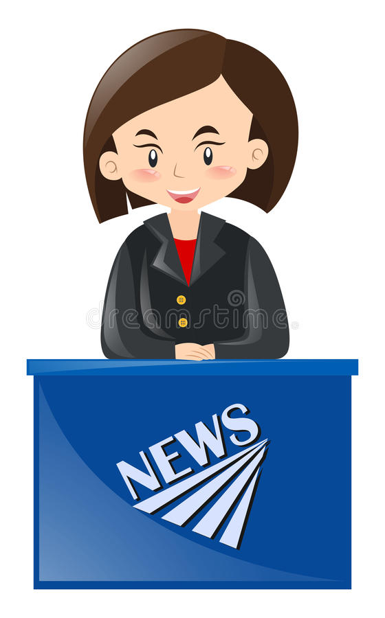 Download Female News Reporter Reporting Stock Illustration