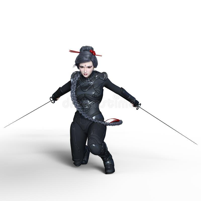 Female ninja. 3D CG rendering of a female ninja stock photos