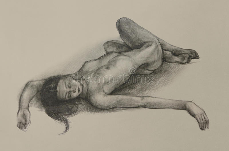 Nude girl pencil drawing