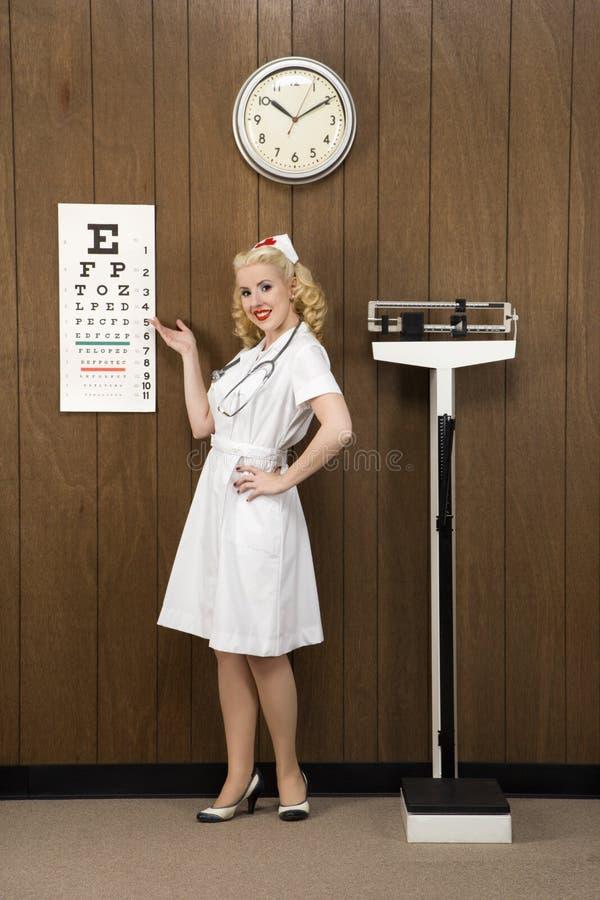 Female nurse pointing to eye chart in retro setting. royalty free stock image