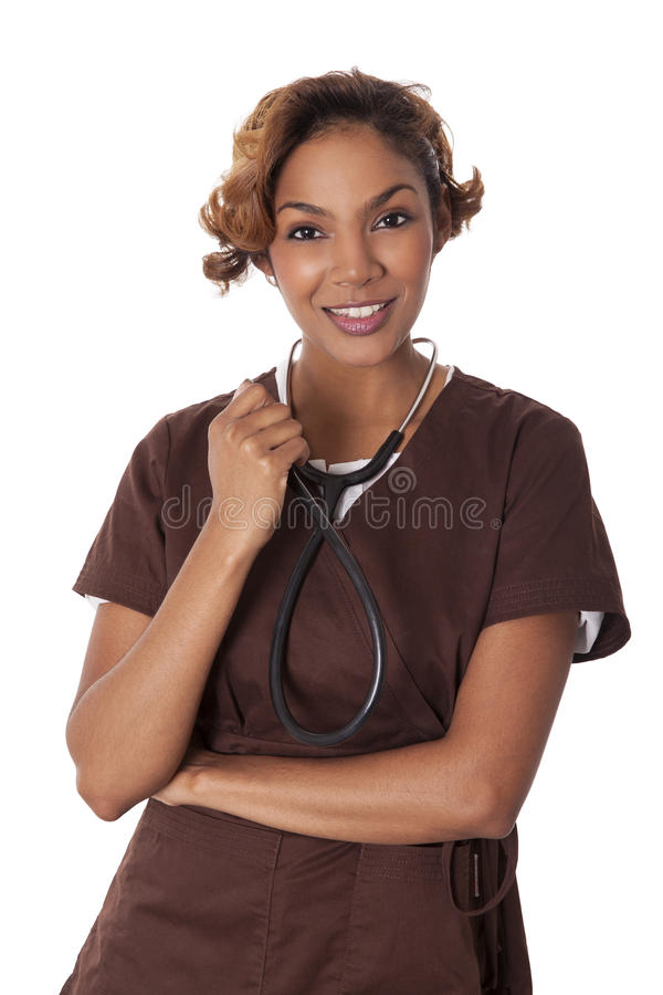Download Female Nurse In Scrubs Holds A Stethoscope. Stock Photo - Image of confident, business: 30522684