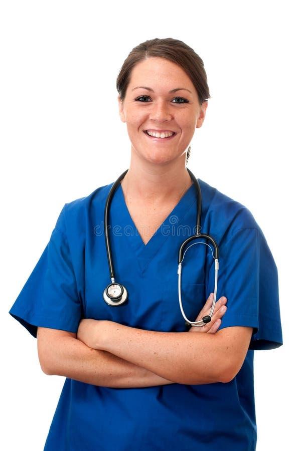 Female Nurse with Stethoscope Isolated royalty free stock image