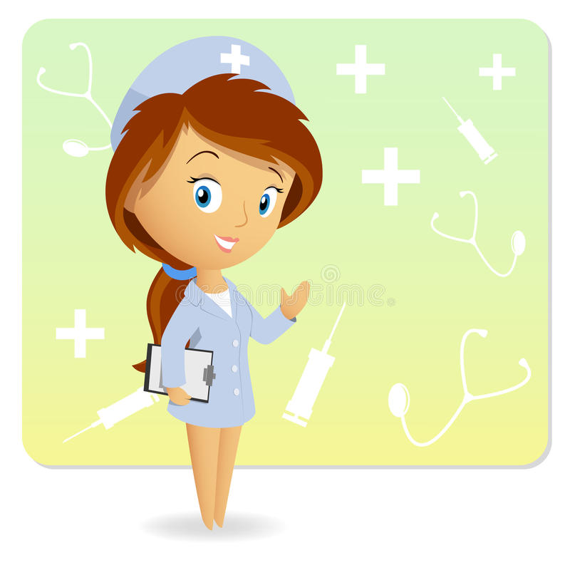 Female Nurse With Tablet Notepad On Background Stock Photo