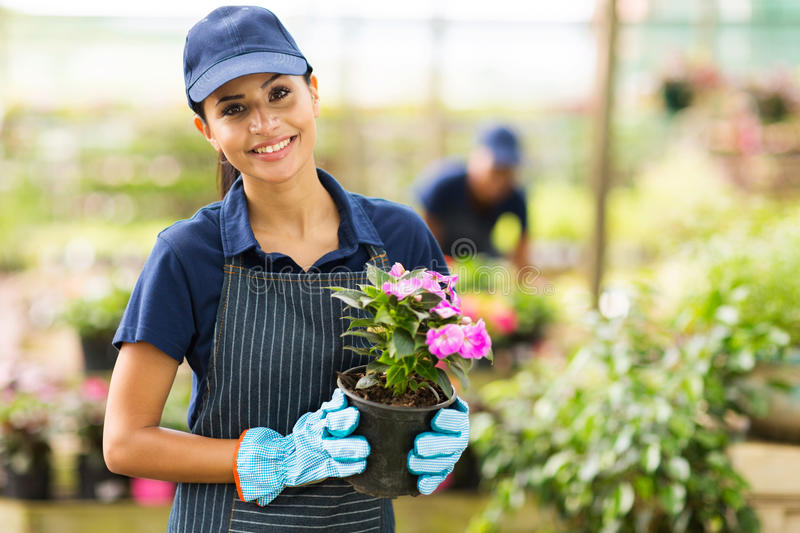 Female nursery owner. Pretty female nursery owner with pot of flowers stock photography