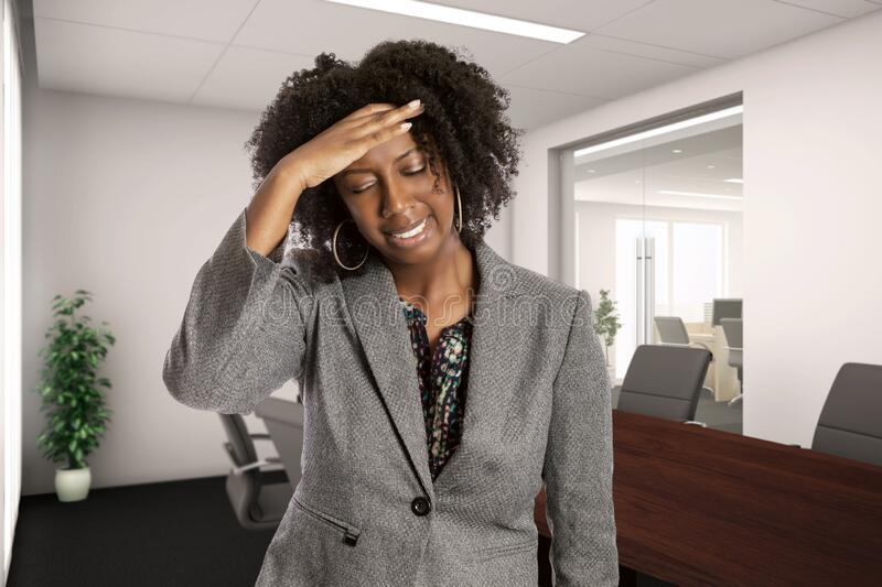 Female Office Worker Feeling Sick with Symptoms royalty free stock images