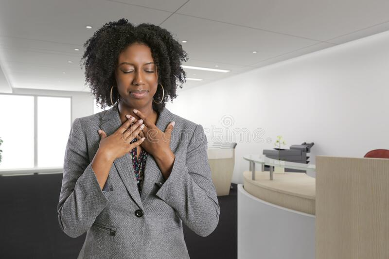 Female Office Worker Feeling Sick with Symptoms stock photo